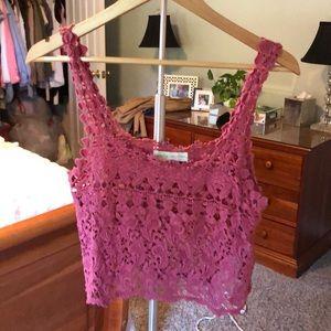 pink crochet crop top